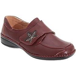Boulevard - Zapatos Casuales de Ancho Especial con Cierre Adhesivo para Mujer (41 EU/Vino)