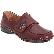 Boulevard - Zapatos casuales de ancho especial con cierre adhesivo para mujer