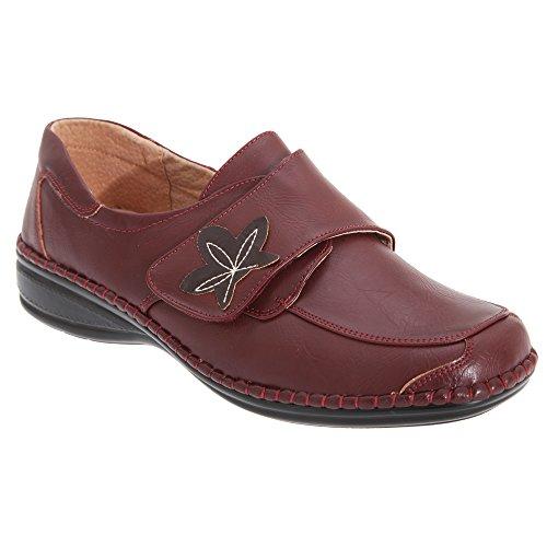 Boulevard - Chaussures larges à sangle scratch - Femme Vin