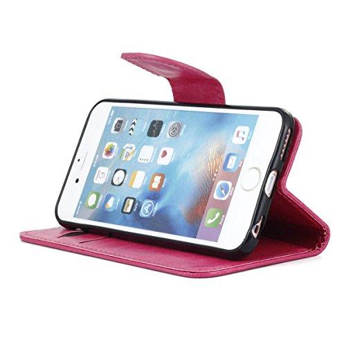 """MOONCASE pour iPhone 6 / 6S (4.7"""") Case Cuir Portefeuille Coque en Housse de Protection Étui à rabat Case Blanc Hot Rose #0308"""