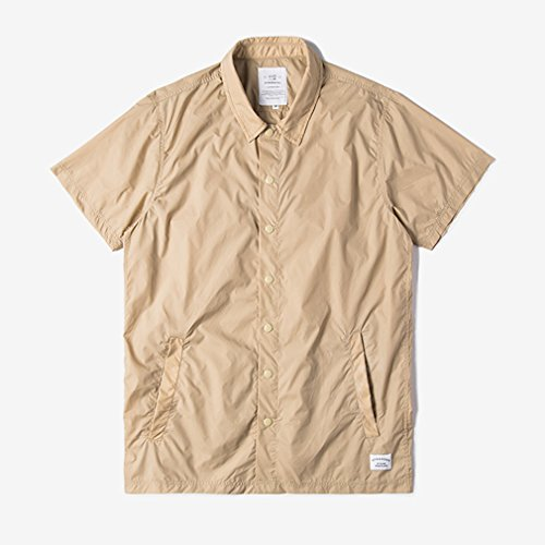 Honghu Manches courte Chemise Casual Homme Beige