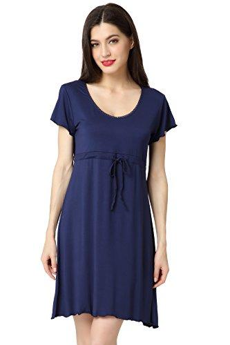 Aibrou Damen Schlafrock Modal Nachthemd lose Negligee Nachtwäsche kurzarm Sleepshirt mit einstellbarem Gürtel Freizeitanzug Umstandskleidung Reine Farbe