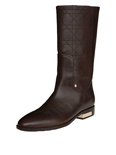 christian-dior-femmes-bottes-cuir-veritable-marron-fonce-36