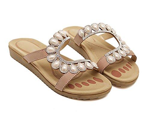 Strass Sandalen Sommer Sandalen Casual Sandalen flache Schuhe apricot IcCdAC
