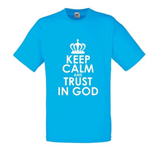 lepni.me Männer T-Shirt Vertraue Gott! Jesus Christus Liebt Dich - Ostern - Auferstehung - Geburt Christi, Christliche Kleidung (Medium Blau Weiß) (Bösen Kalender)
