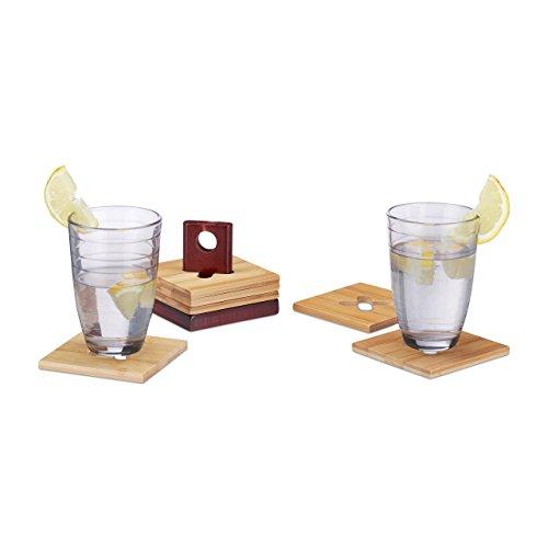 ersetzer Set, 6 Glasuntersetzer mit Halter, abwischbare Tischuntersetzer BxT: 10 x 10 cm, Natur ()