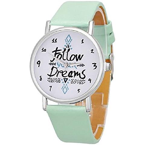 Malloom® Mujeres Siga Sueños Palabras Patrón PU Relojes de Pulsera (Menta verde)