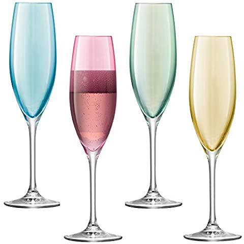 LSA International 225 ml Polka Champagne Flute Pastel, Assorted (Pack of 4)
