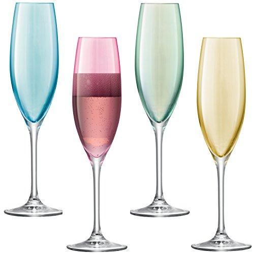 LSA Polka Sektglas-Set, Verschiedene Pastellfarben, 225 ml, 4 Stück
