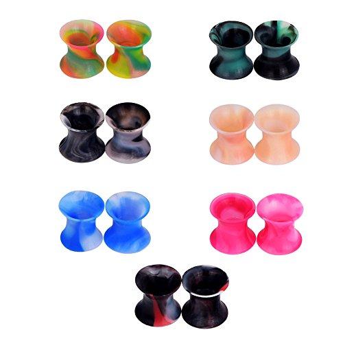 D&M Jewelry 14 Piezas de Colorida Silicona 2G-3/4'(6-20mm) Hueco Expansor de Túnel de Colores Mezclados Ear Plug Pendientes de Oreja Piercing 6mm