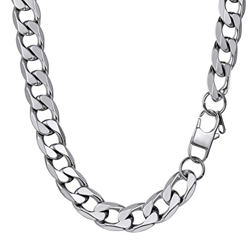 PROSTEEL 13MM Stainless Steel Necklace 24Inch Curb Cuban Link Chain Fashion Jewerly