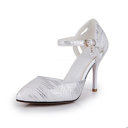 AgooLar Damen Spitz Zehe Stiletto Schnalle Rein Pumps Schuhe Silber