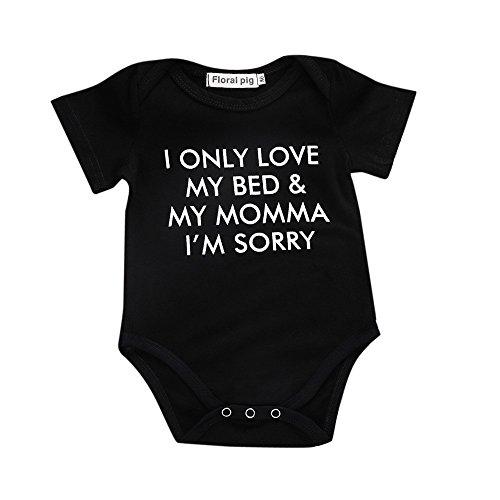 Vovotrade Neonato di neonati ragazze a manica corta Lettera Stampa pagliaccetto tuta Outfits (6M, Nero)