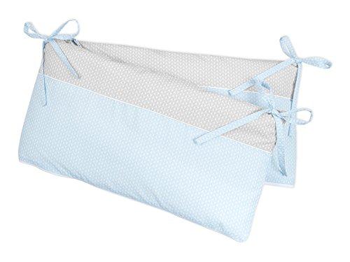 KraftKids Nestchen kleine Blätter hellblau auf Weiß kleine Blätter hellgrau auf Weiß, Bett-Umrandung für Baby-Bett 140 x 70 cm, Baby-Nest mit separatem Außenbezug (Bett-blatt-baby-junge)