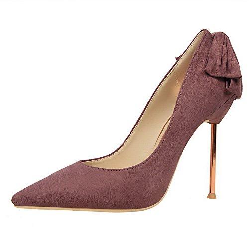 AalarDom Damen Stiletto Spitz Zehe Ziehen Auf Rein Pumps Schuhe mit Schleife Lila-Mattglasbirne