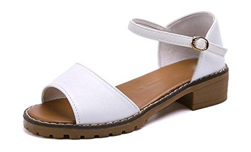 Sommer-Matte Studenten Sandalen Hang mit flachen Schuhen College Wind wilden Kopf Sandalen Fisch white (leather)