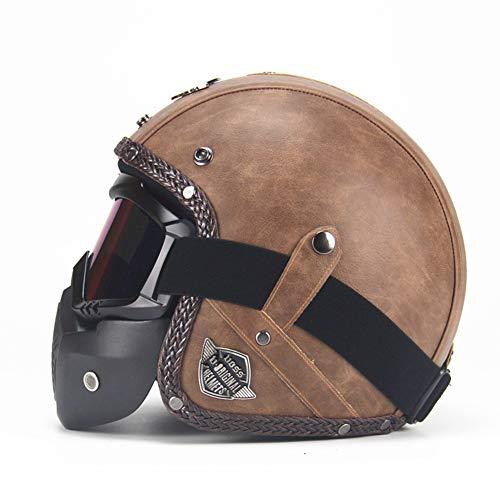 QWER Casco de Cuero de la PU 3/4 Motocicleta Chopper Casco de Bicicleta Cara Abierta Casco de Motocicleta Vintage con máscara de Gafas,1