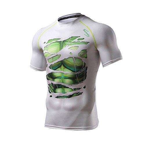 Spiderman–Batman–Superman–Hulk–Captain America T-shirt de compression pour homme/hommes (de Sport Fonctionnel à manches courtes T-shirt manches courtes) L Hulk