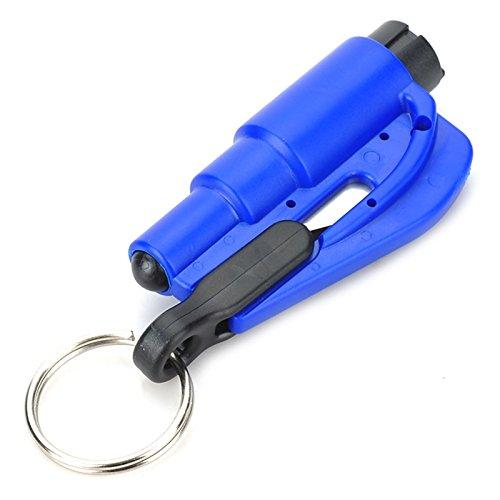 Preisvergleich Produktbild Unicoco 2-in-1 Sicherheit Hammer Notausstieg Rettung Werkzeug mit Schlüsselanhänger BLAU