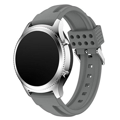 Preisvergleich Produktbild Sansee Fashion New Sports Silikon Armband Strap Band für Samsung Gear S3 Classic - (Samsung Gear S3 Classic Doppel-Pit Silikon-Armband) (grau)