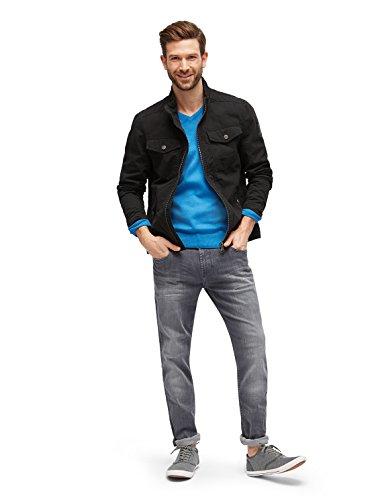 TOM TAILOR Herren Pullover Basic V-Neck Sweater Blau (Swimming Pool Blue Melange 6755)