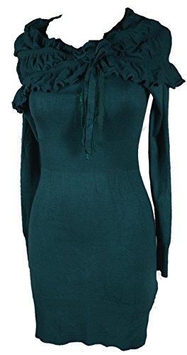 Damen Kaschmir Strickkleid Kleid long Pullover Shirt 34 36 38 40 42 XS S M L Übergang Volants Kragen Grün 3D Blumen (42)