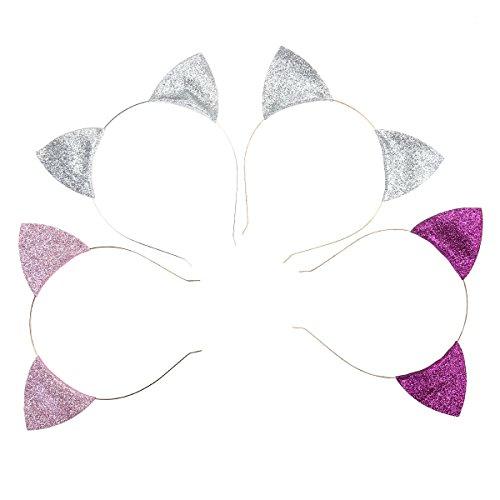 Frcolor 4 Stück Glitzer Katzenohren Haarreif für Hochzeit Kinder Party Dekoration