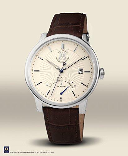 Vatikan Observatorium Foundation–7200–Herrenuhr–Quarz–Analog Zifferblatt Beige–Armband Leder braun