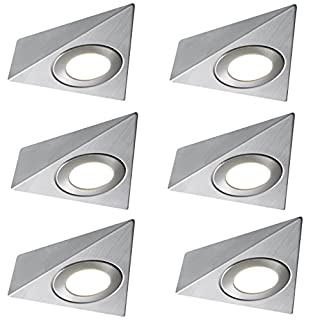 6 X LED MAINS TRIANGLE LIGHT KITCHEN UNDER CABINET UNIT CUPBOARD COOL WHITE