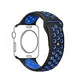 Ontube 38MM Soft Silikon Ersatzband mit Bel¨¹ftungsl?chern f¨¹r Apple Watch Armband Serie 3 Serie 2, Serie 1, Sport, Edition, M/L Schwarz/Blau