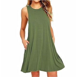 ZNYSTAR Frauen Sommer ärmellos lose kurze Ärmel Casual Kleid Blusen Kleid lose Tunika Casual T-Shirt Kleid O-Ausschnitt Taschen Casual Tank Kleider (XL, Armeegrün)