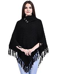eWools Women Ladies Girls Winter Wear Self Eye Design Woolen Poncho
