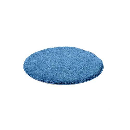 etérea Microfaser Hochflor Badteppich Badvorleger - Badematte Jana - Uni Blau - 60 cm Rund