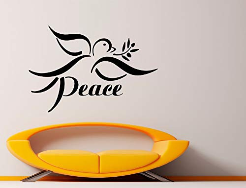 zhuziji Peace Bird Wall Decal Removable Interior No War Olive Branch Wall Stickers Vinyl Quotes Peace Houseware Art Mural Decor 57x38cm -