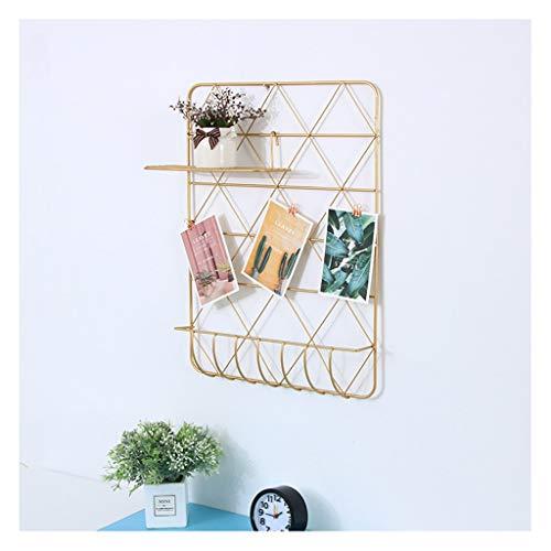 Colgador de pared de decoración de pared dorada de Ins, estante de...