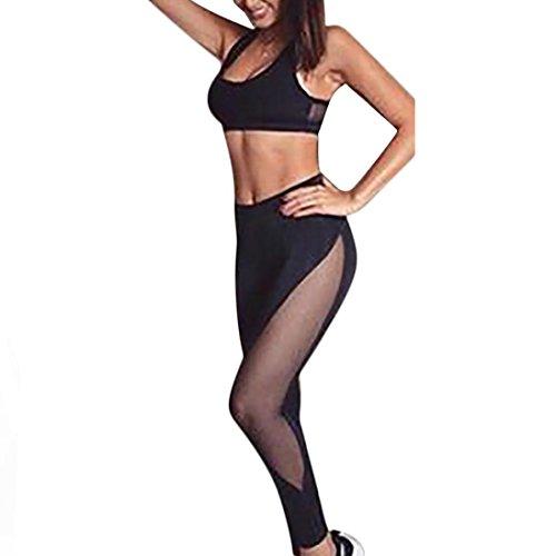 Zarupeng Damen Mesh Dünne Hohe Taille Leggings Elastische Lange Yoga Hosen + Weste Tops Set (S, Schwarz) (Kleine Mädchen Dünn Strumpfhose)