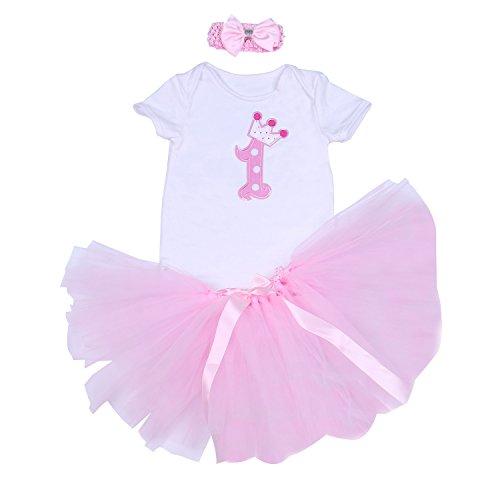 BabyPreg Baby Mädchen 3PCs Erster Geburtstag Onesie Tutu-Kleid Stirnband (XL/12-18 Monate, Rosa 1)