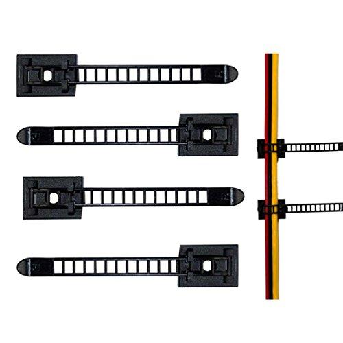 Verstellbare Kabelhalter, 3M Selbstklebende Kabelschellen, Kabelklemme für Haus, Bro, Auto, PC (20 Stück Schwarz)