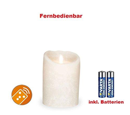 Sompex 35740Flame–Vela LED blanco Frost (Frosted Blanco/Blanco Escarchado) 8x 12,5cm, con 2pilas. Bundle Incluye Pilas.