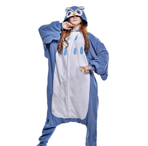Onesies mit Kapuze Erwachsene Unisex Cospaly Schlafanzug Halloween Kostüm Eule Geeignet für Hohe 160-175CM (Genie Halloween-kostüm Für Erwachsene)