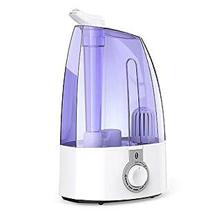 Luftbefeuchter 3,5L TaoTronics Ultraschall Luftbefeuchter, Leiser Betrieb für Schlafzimmer Kinderzimmer Wohnzimmer, Raumbefeuchtung gegen Trockung mit Max. Ausstoß von 300 ml/h, Duale 360° Düse, Lila