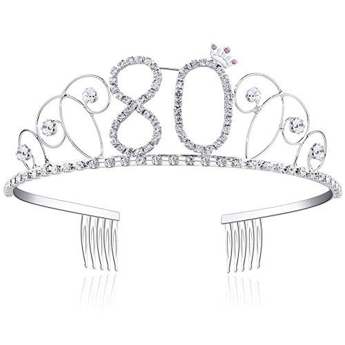 BABEYOND® Kristall Geburtstag Tiara Birthday Crown Prinzessin Kronen Haar-Zusätze Silber Diamante Glücklicher 16/18/20/21/30/40/50/60/70/80/90 Geburtstag (80 Jahre alt)