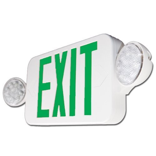 Exit Light Combo Green Compact ** ALL LED ** High Output by The Exit Light Company Combo Green Compact