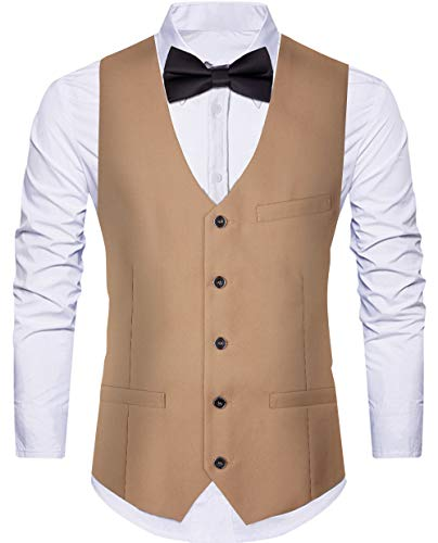 WANNEW Herren Weste Anzug Weste Smoking Weste Kleid Weste mit 3 Taschen für Anzug oder Smoking - Beige - XX-Large -