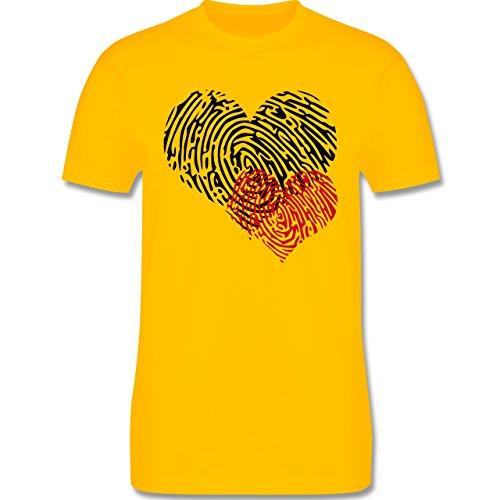 Romantisch - Herz Fingerabdruck Doppelherz - Herren Premium T-Shirt Gelb