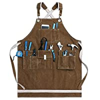 Jeanerlor Washed Shop Apron 12oz Water-Resistant Work Aprons for Men Heavy Duty Waxed Canvas Tool Apron with Pockets Thick shoulder pad, Cross-Back Straps Adjustable L to XXXL (Coffee)