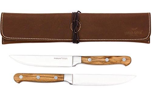 makami Steakmesser 'Olive Deluxe' aus Olivenholz mit glatter Klinge im 2er-Geschenkset mit Lederetui