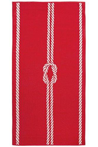 Zollner Strandtuch Strandlaken XXL ca. 100x200 cm aus Baumwolle, Rot-Weiß (Weitere verfügbar), Serie Marina