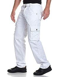 BLZ jeans - Pantalon homme cargo blanc avec ceinture