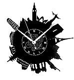 Horloge Murale en Vinyle Cadeau Fait Main Décorations Pour la Maison Home Office Monde Voyage Travel Tour Monuments